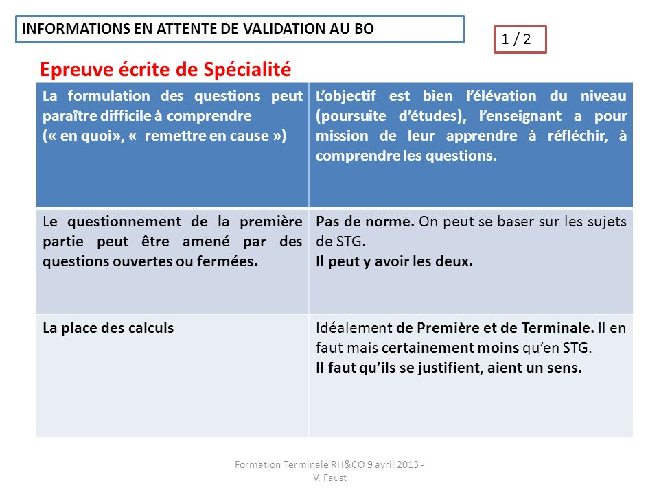 INFORMATIONS EN ATTENTE DE VALIDATION AU BO