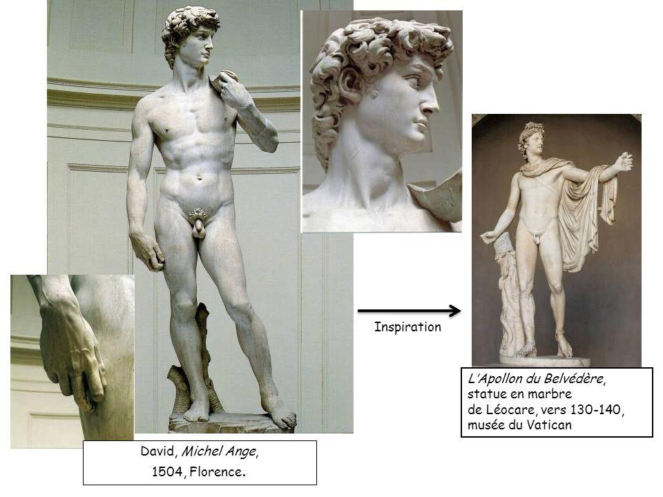 InspirationL'Apollon du Belvédère, statue en marbre. de Léocare, vers 130-140, musée du Vatican. David, Michel Ange,