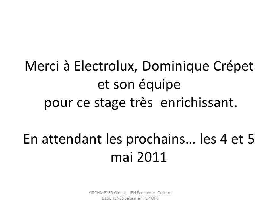 Merci à Electrolux, Dominique Crépet et son équipe pour ce stage très enrichissant. En attendant les prochains… les 4 et 5 mai 2011