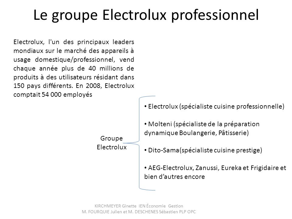 Le groupe Electrolux professionnel