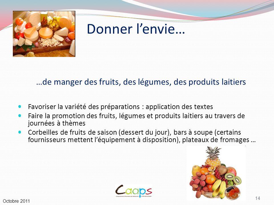 …de manger des fruits, des légumes, des produits laitiers