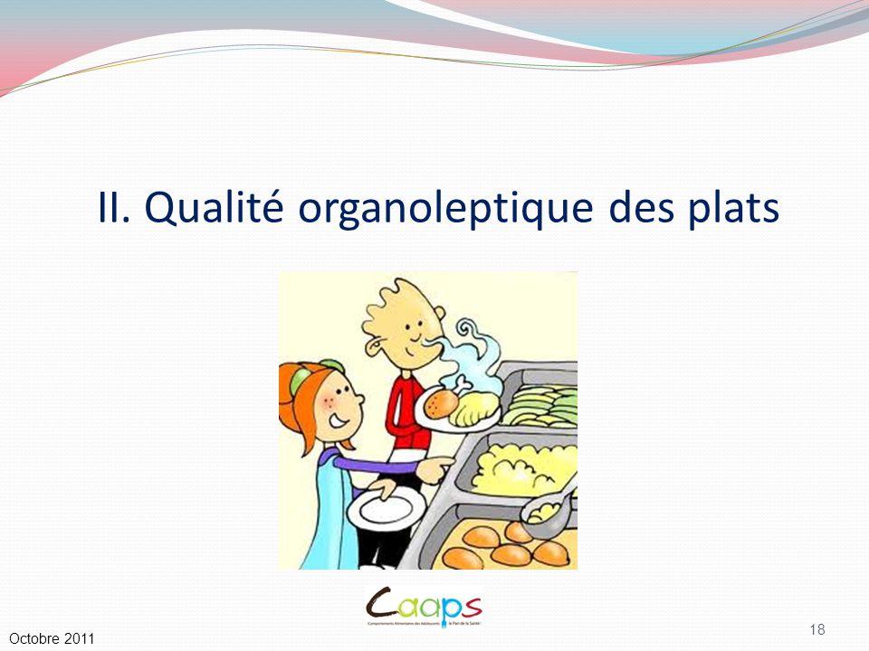 II. Qualité organoleptique des plats