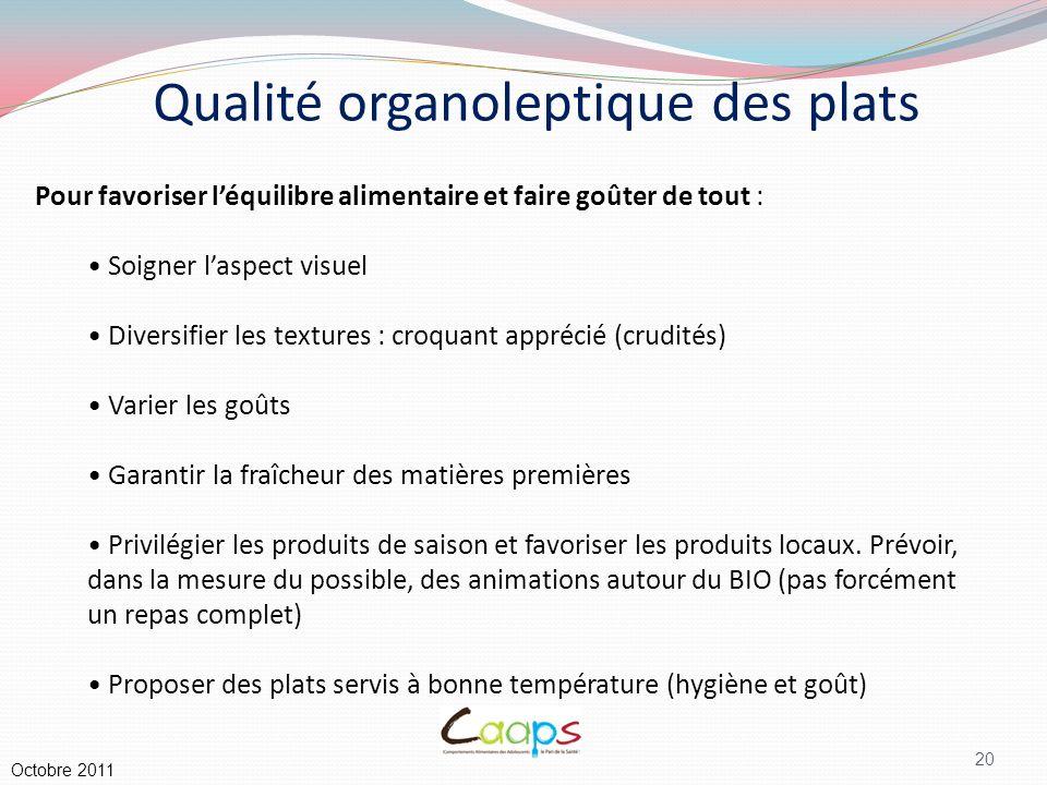 Qualité organoleptique des plats