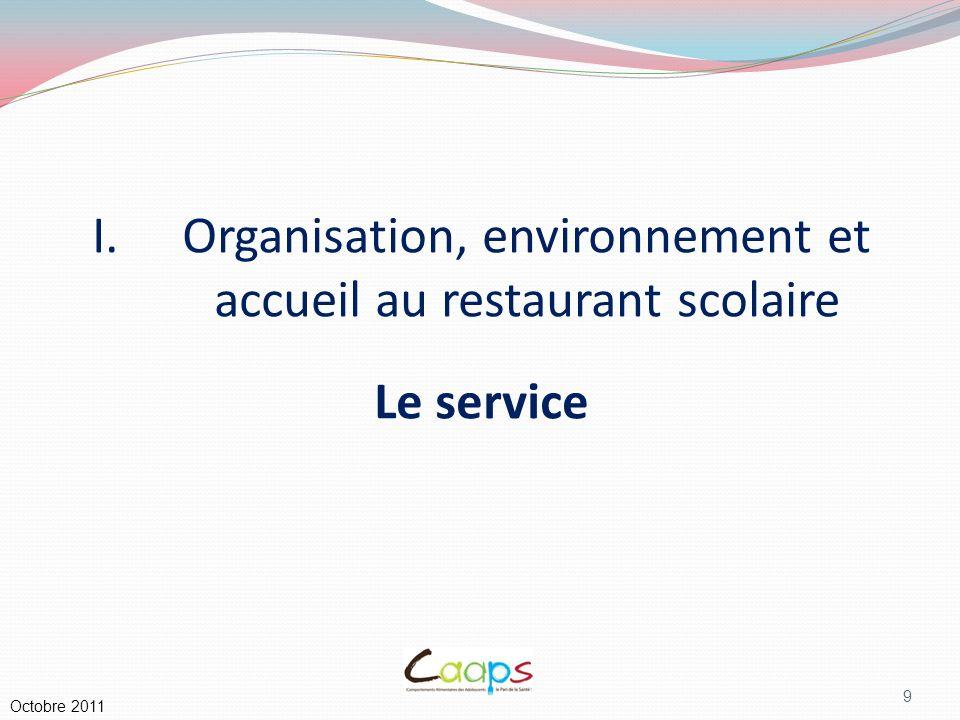 Organisation, environnement et accueil au restaurant scolaire