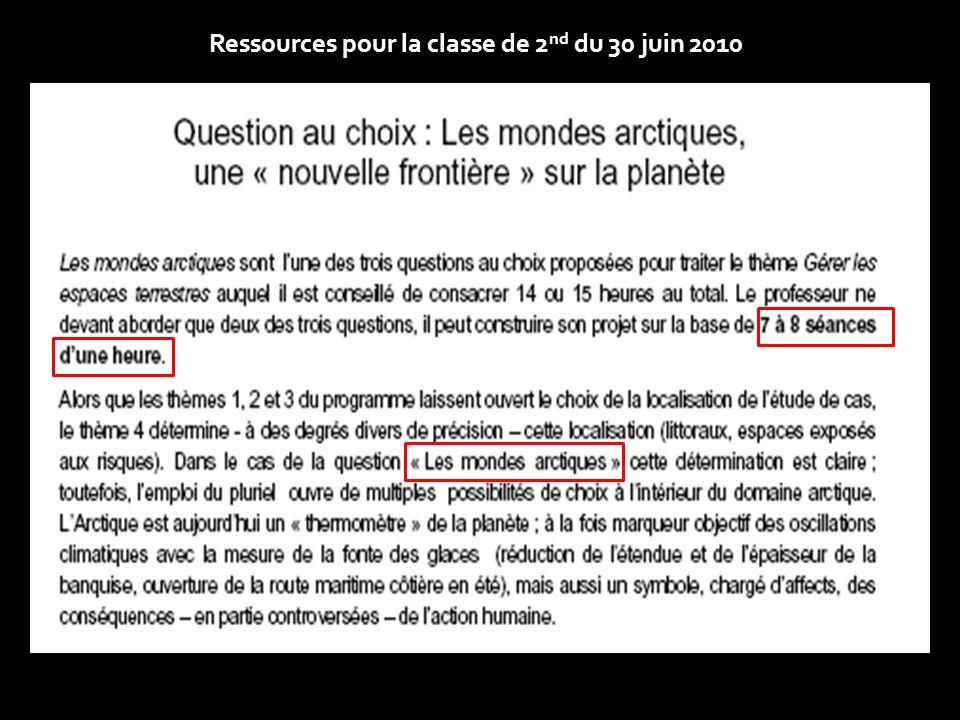 Ressources pour la classe de 2nd du 30 juin 2010