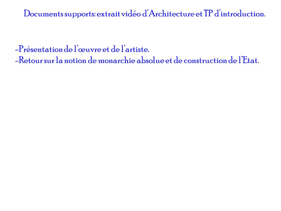 Documents supports: extrait vidéo d'Architecture et TP d'introduction.