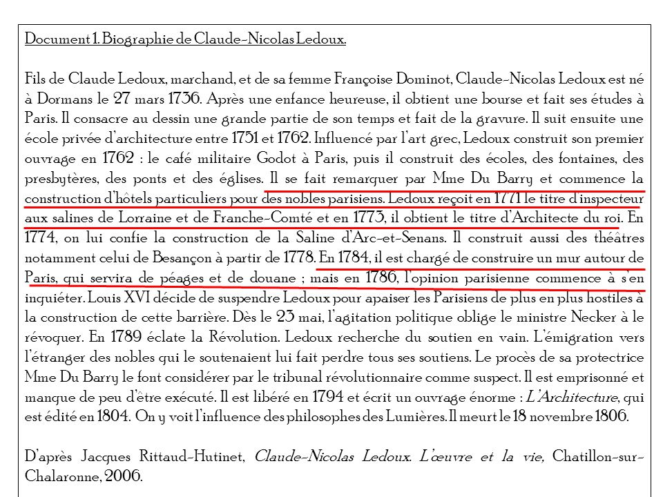 Document 1. Biographie de Claude-Nicolas Ledoux.