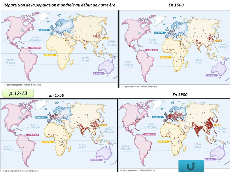Répartition de la population mondiale au début de notre ère