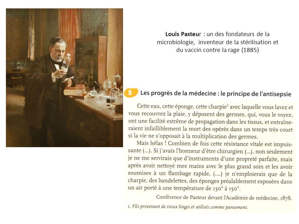 Louis Pasteur : un des fondateurs de la microbiologie, inventeur de la stérilisation et du vaccin contre la rage (1885)