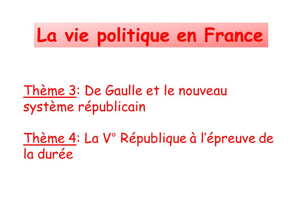La vie politique en France