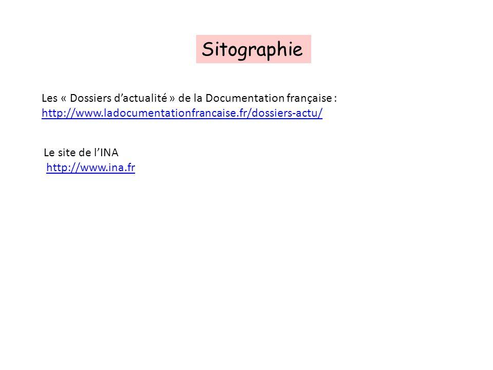 Sitographie Les « Dossiers d'actualité » de la Documentation française : http://www.ladocumentationfrancaise.fr/dossiers-actu/