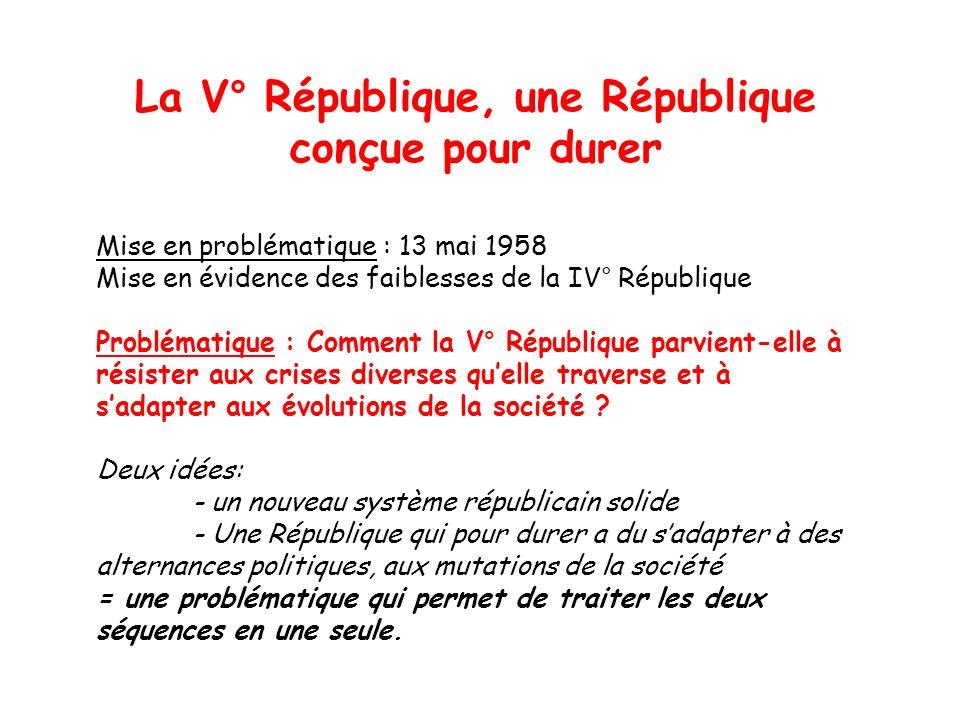 La V° République, une République conçue pour durer