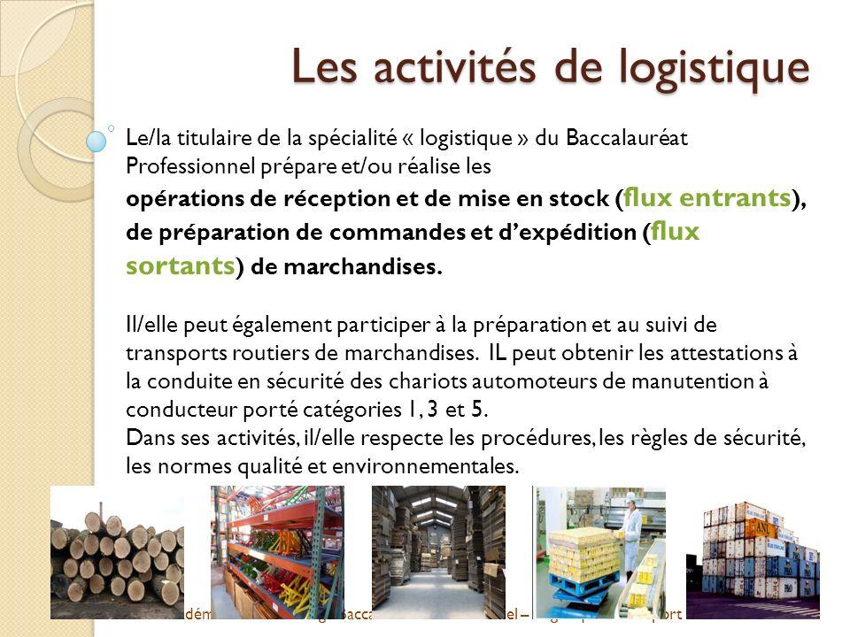 Les activités de logistique
