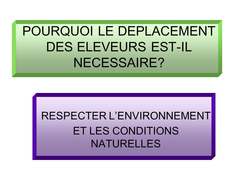 POURQUOI LE DEPLACEMENT DES ELEVEURS EST-IL NECESSAIRE