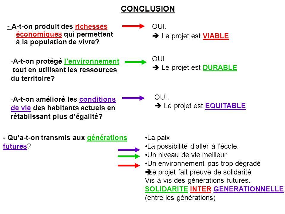 CONCLUSION - A-t-on produit des richesses économiques qui permettent à la population de vivre OUI.