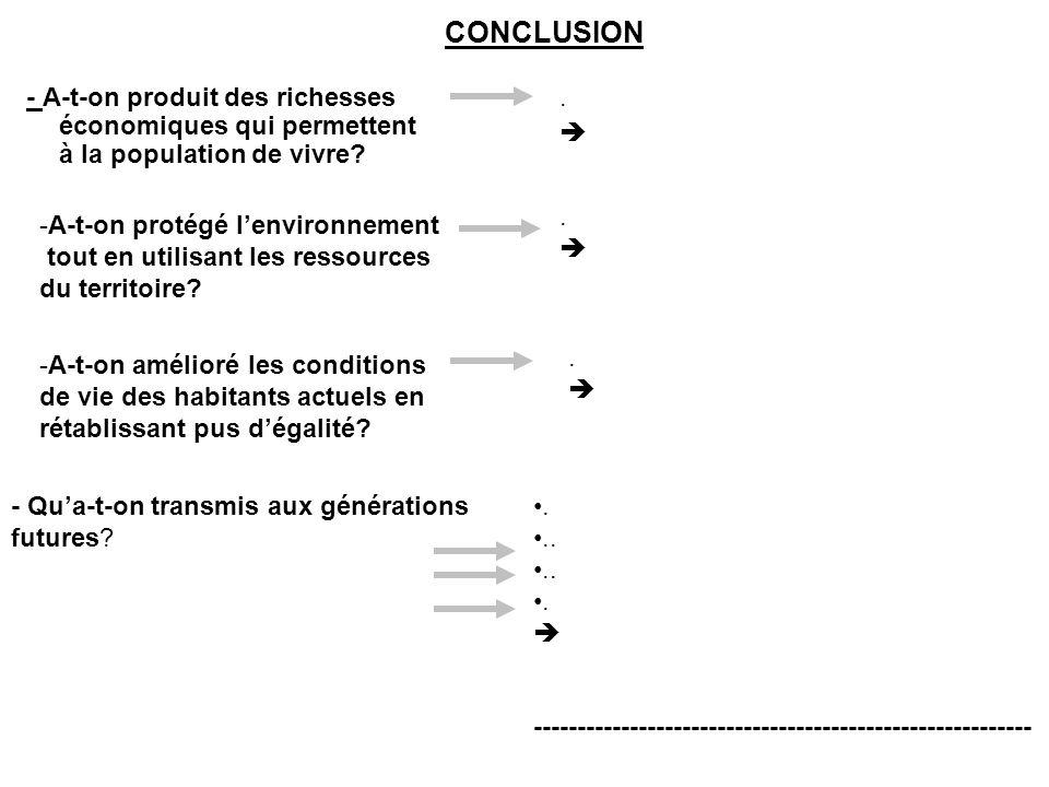 CONCLUSION - A-t-on produit des richesses économiques qui permettent à la population de vivre . 