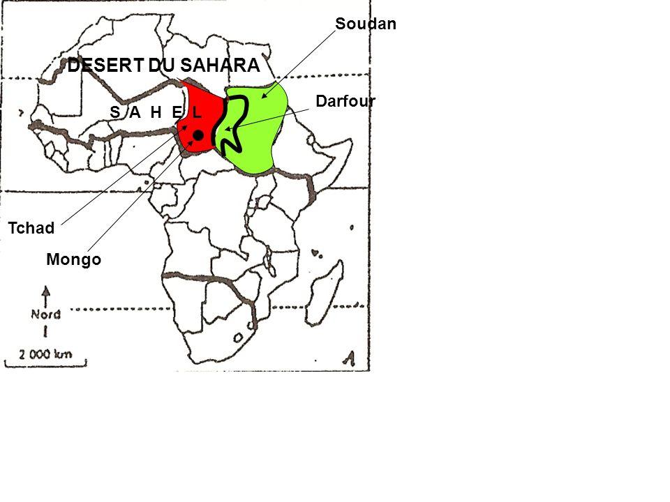 Soudan DESERT DU SAHARA Darfour S A H E L Tchad Mongo