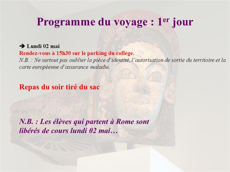 Programme du voyage : 1er jour