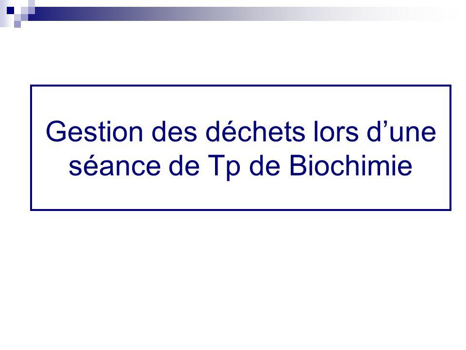 Gestion des déchets lors d'une séance de Tp de Biochimie