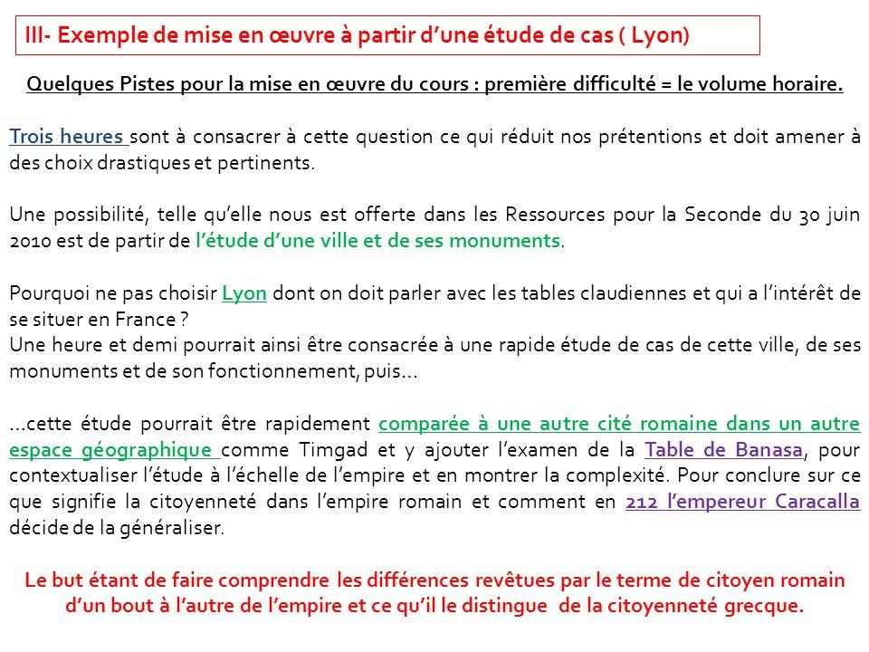 III- Exemple de mise en œuvre à partir d'une étude de cas ( Lyon)