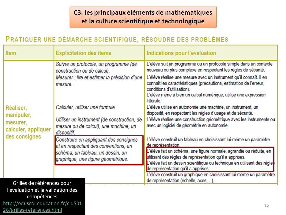 C3. les principaux éléments de mathématiques et la culture scientifique et technologique