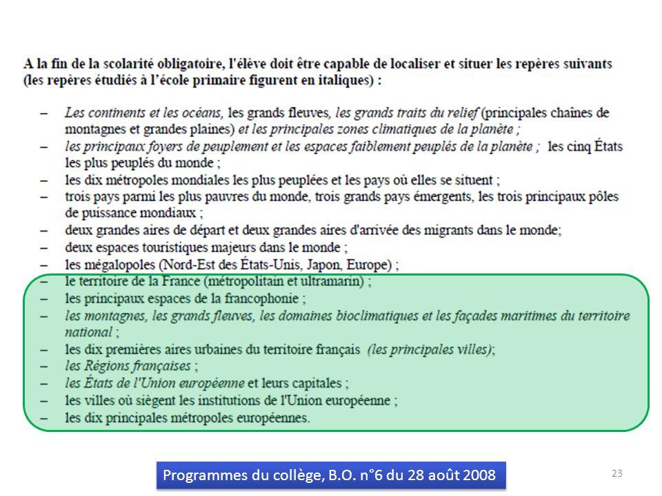 Programmes du collège, B.O. n°6 du 28 août 2008