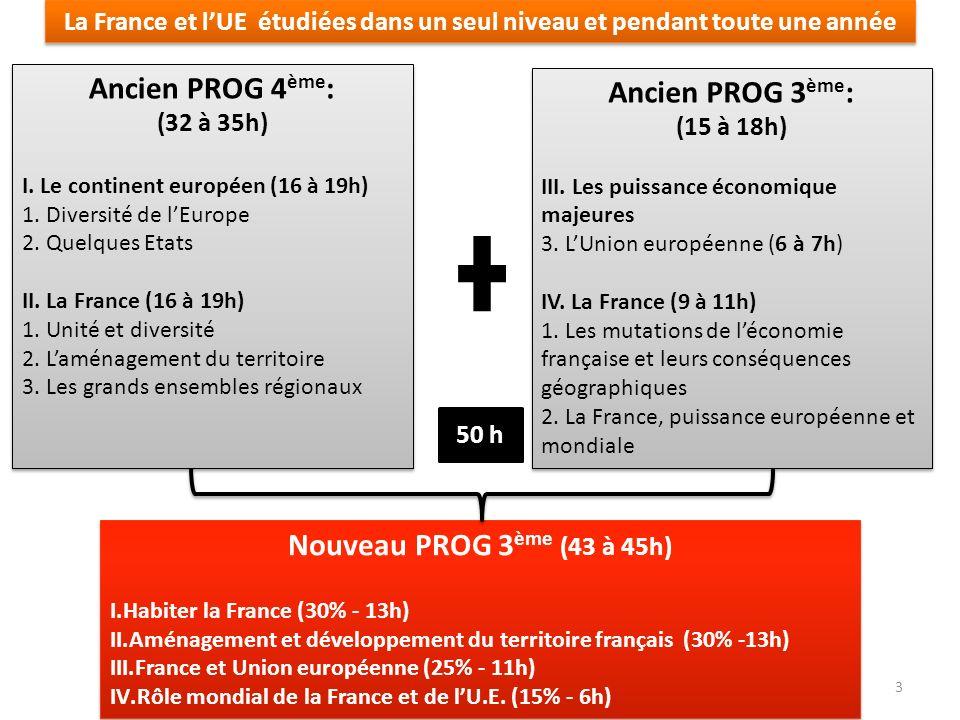 Ancien PROG 4ème: Ancien PROG 3ème: Nouveau PROG 3ème (43 à 45h)