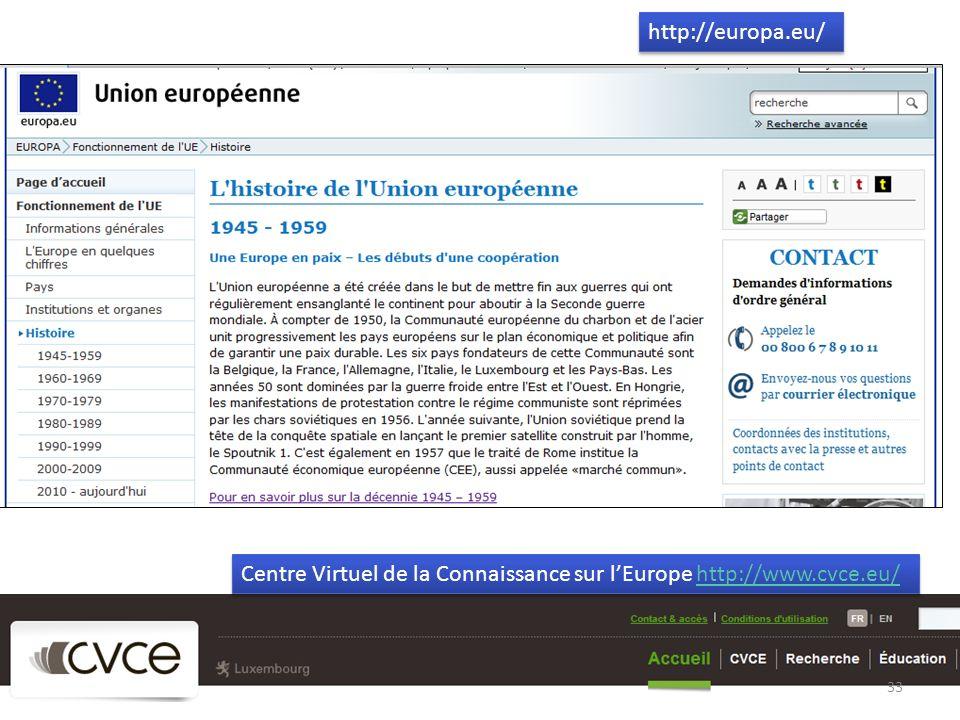 http://europa.eu/ Centre Virtuel de la Connaissance sur l'Europe http://www.cvce.eu/
