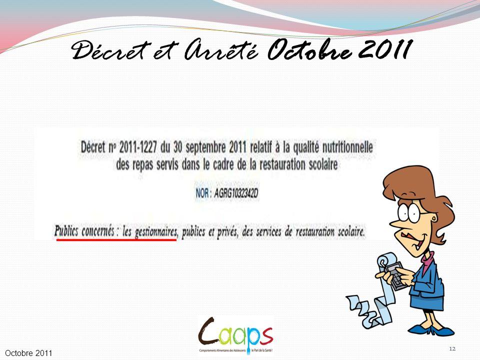 Décret et Arrêté Octobre 2011