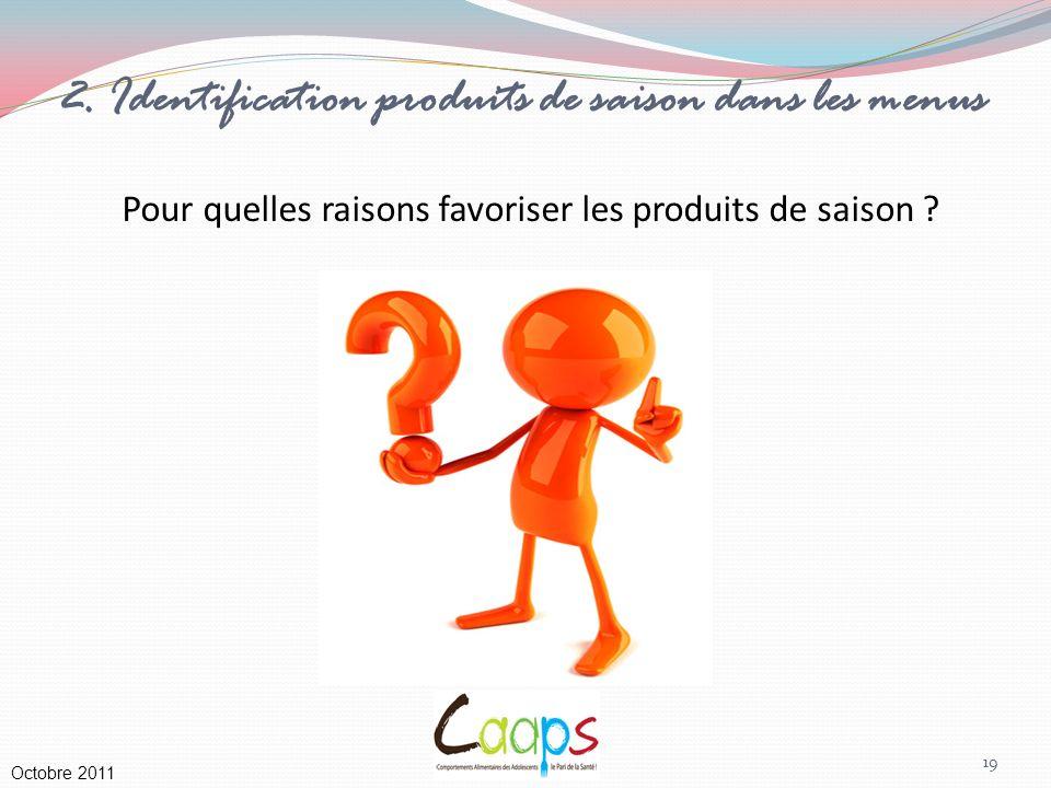 2. Identification produits de saison dans les menus