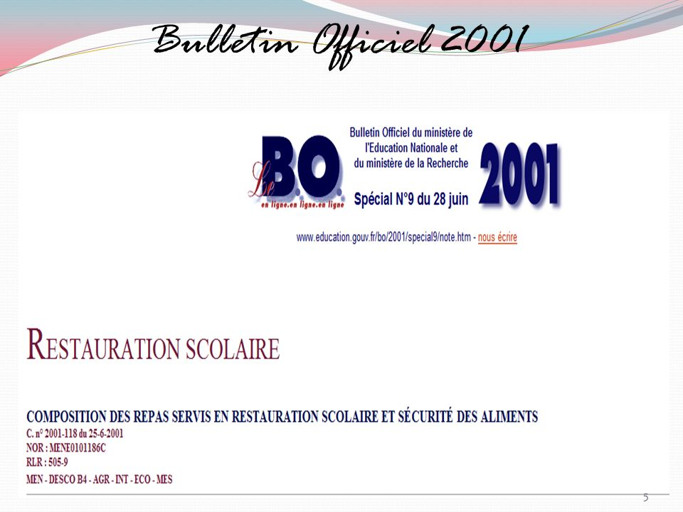 Bulletin Officiel 2001 Commentaires :