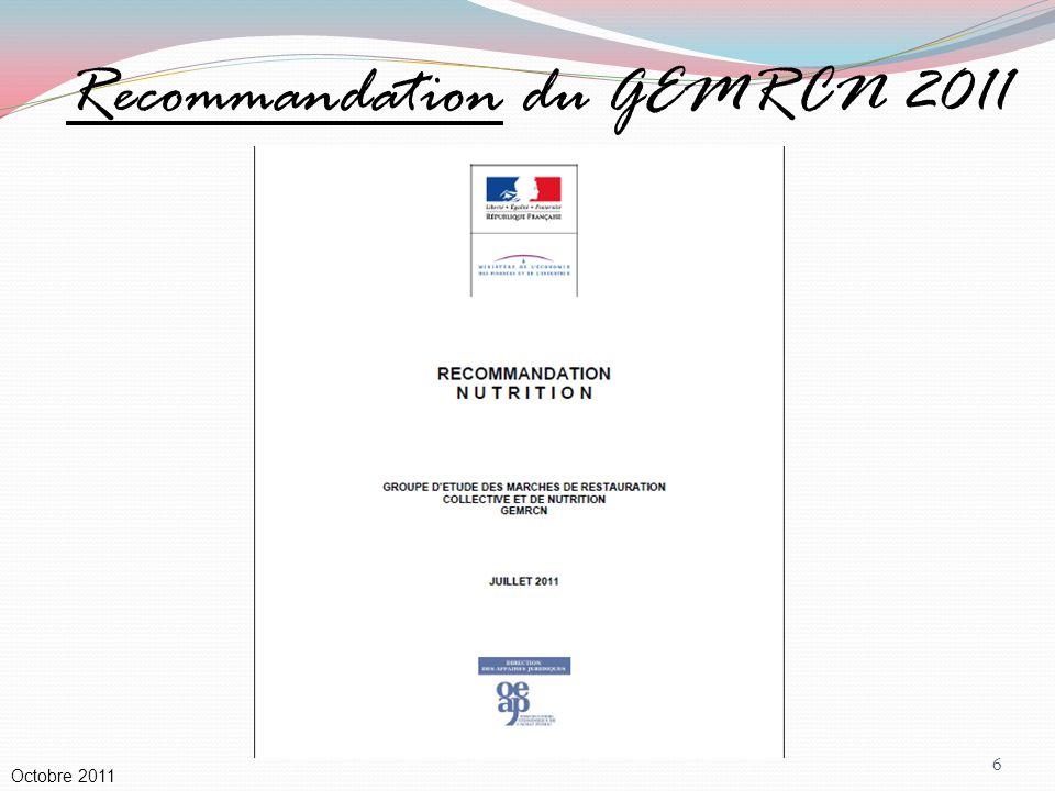 Recommandation du GEMRCN 2011