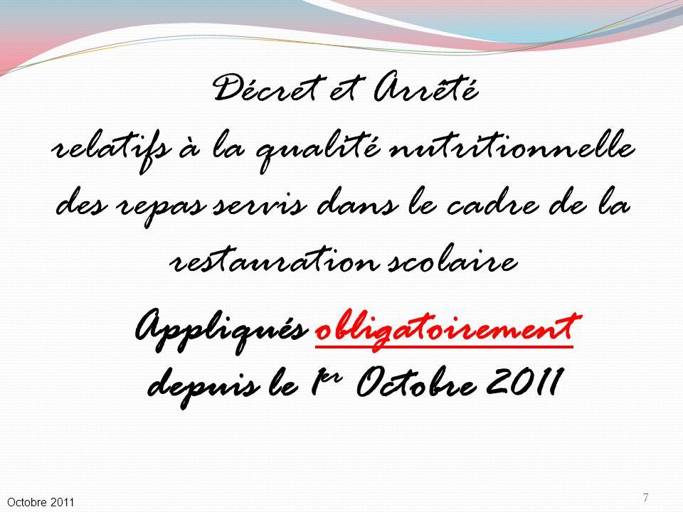 Appliqués obligatoirement depuis le 1er Octobre 2011