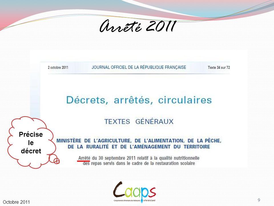 Arrêté 2011 Précise le décret Commentaires : 2 annexes-clés