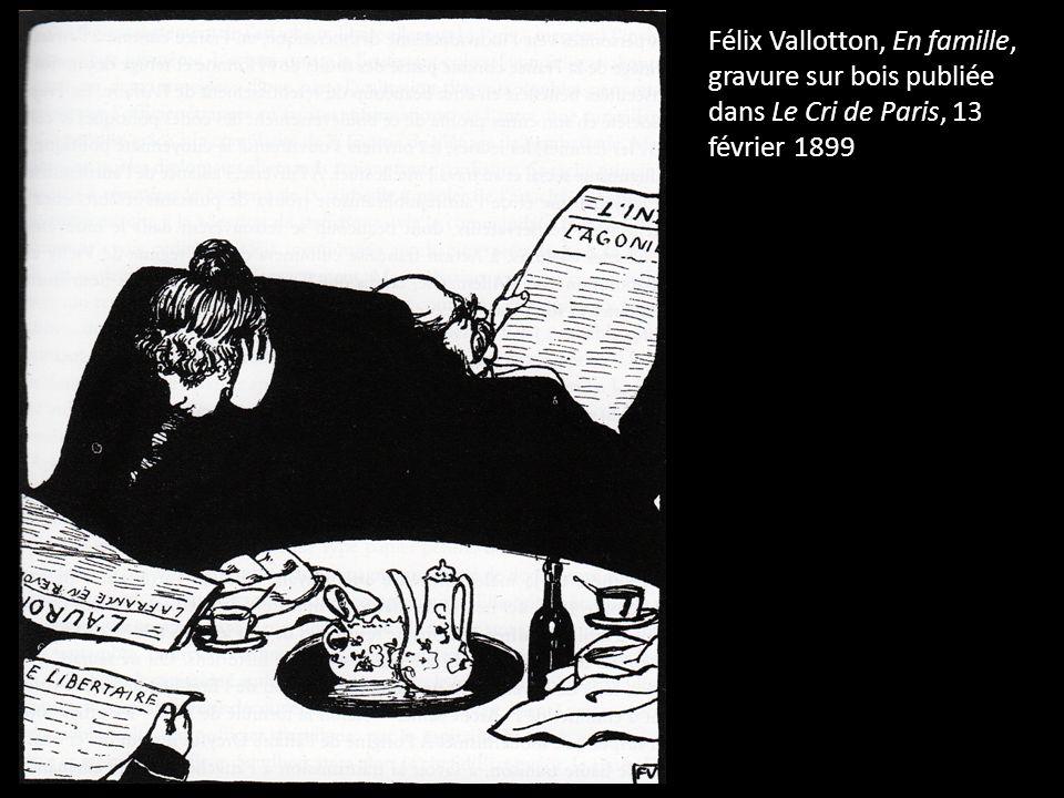 Félix Vallotton, En famille, gravure sur bois publiée dans Le Cri de Paris, 13 février 1899