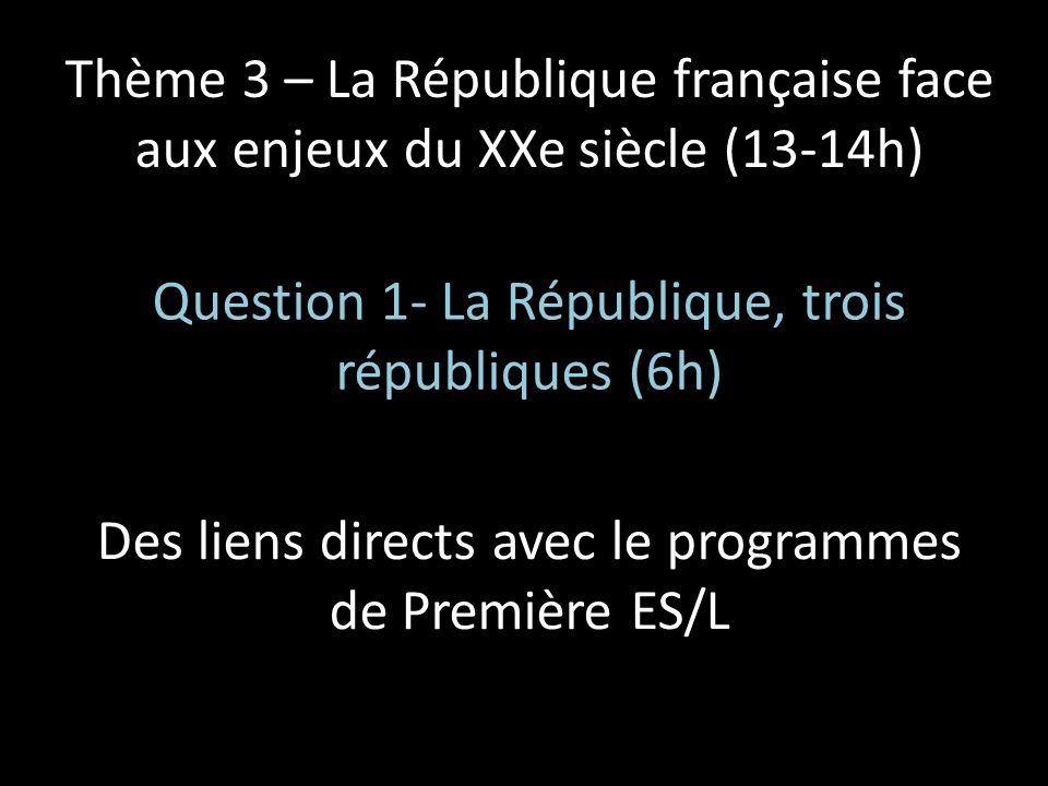 Question 1- La République, trois républiques (6h)