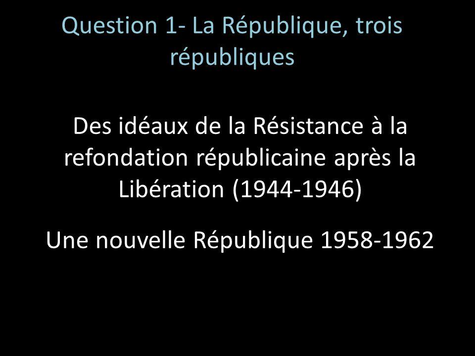 Question 1- La République, trois républiques