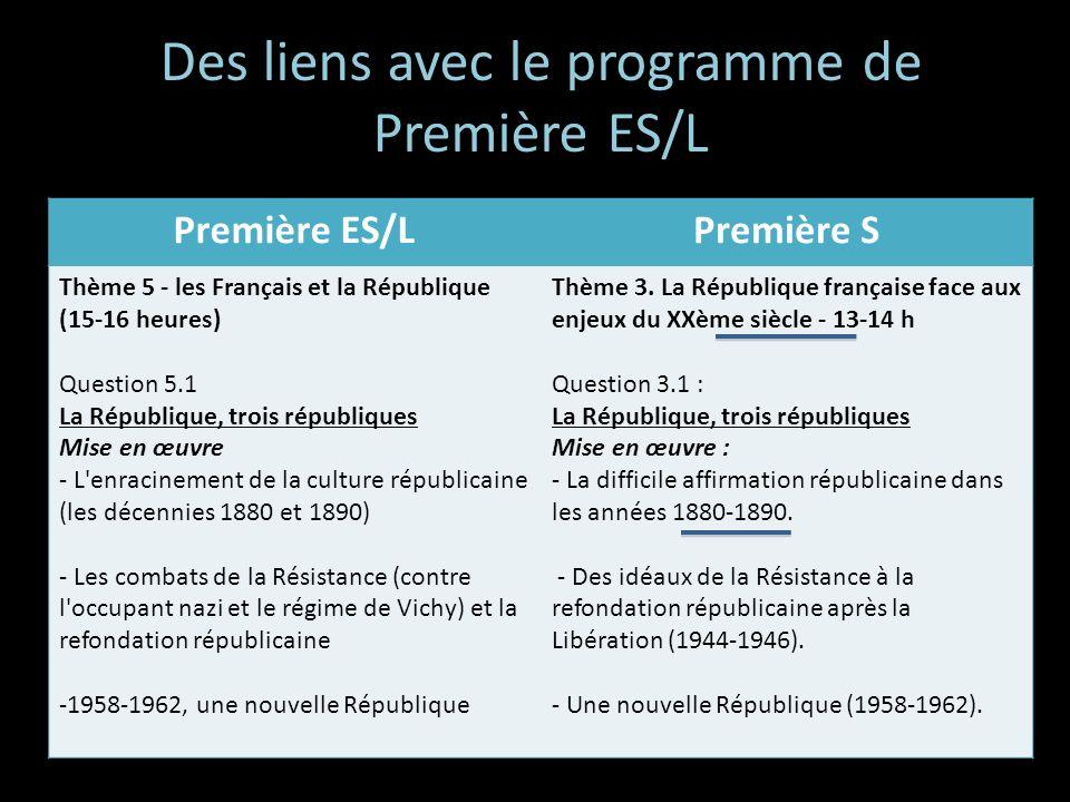 Des liens avec le programme de Première ES/L