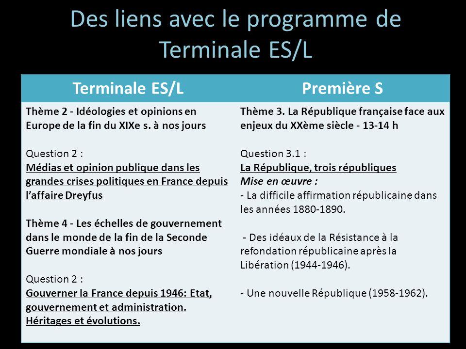 Des liens avec le programme de Terminale ES/L