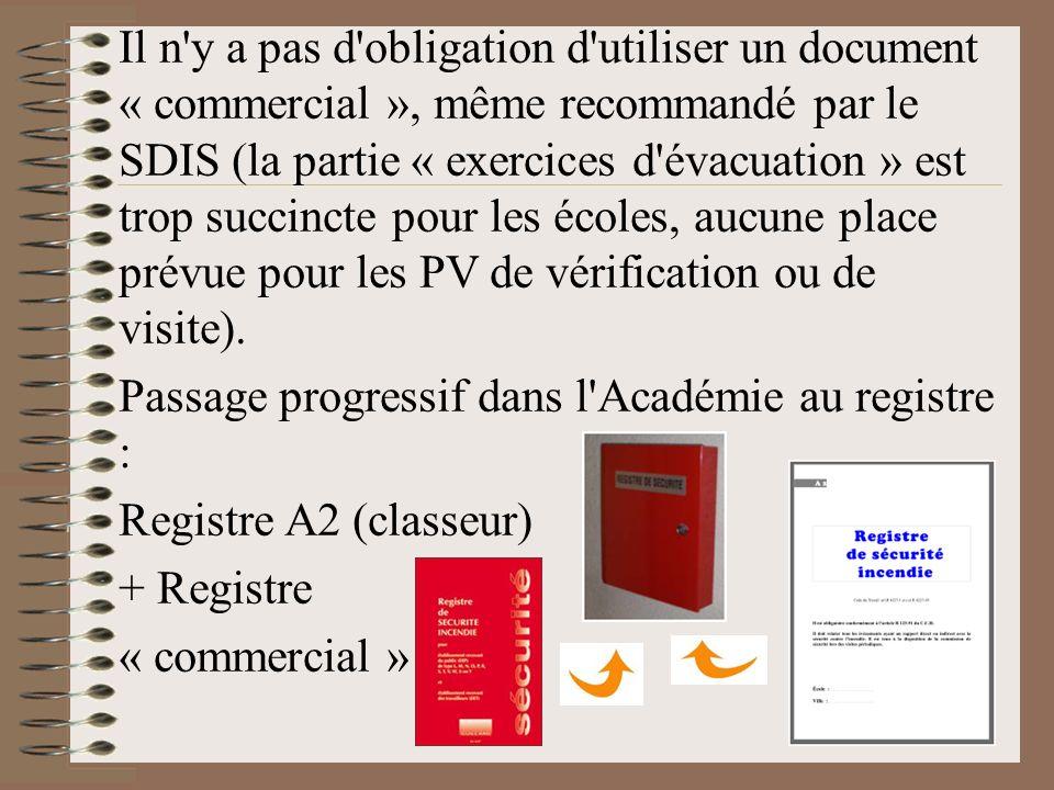 Il n y a pas d obligation d utiliser un document « commercial », même recommandé par le SDIS (la partie « exercices d évacuation » est trop succincte pour les écoles, aucune place prévue pour les PV de vérification ou de visite).