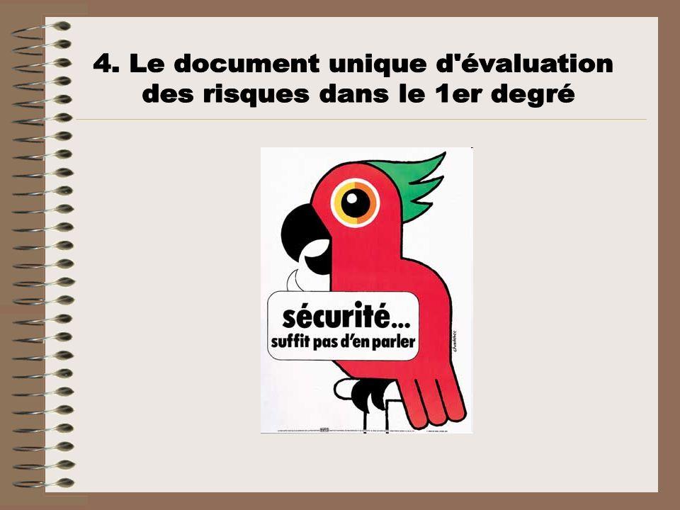 4. Le document unique d évaluation des risques dans le 1er degré