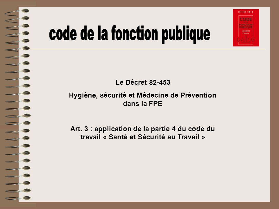 Hygiène, sécurité et Médecine de Prévention dans la FPE