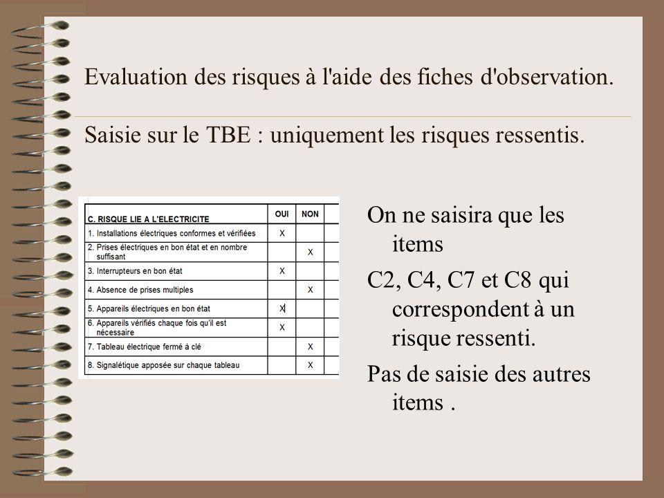 Evaluation des risques à l aide des fiches d observation