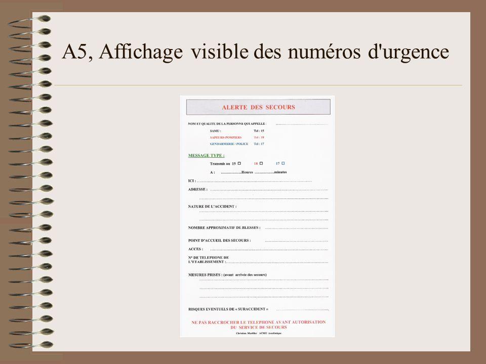 A5, Affichage visible des numéros d urgence