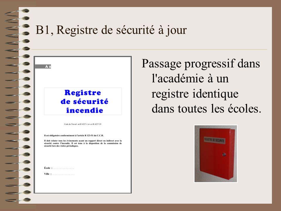 B1, Registre de sécurité à jour