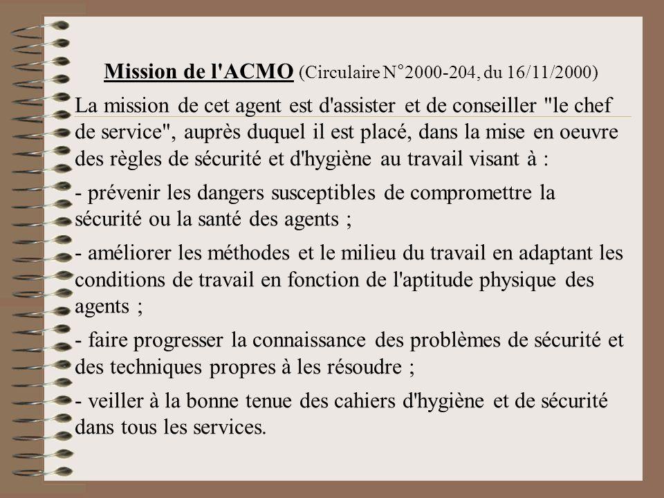 Mission de l ACMO (Circulaire N°2000-204, du 16/11/2000)