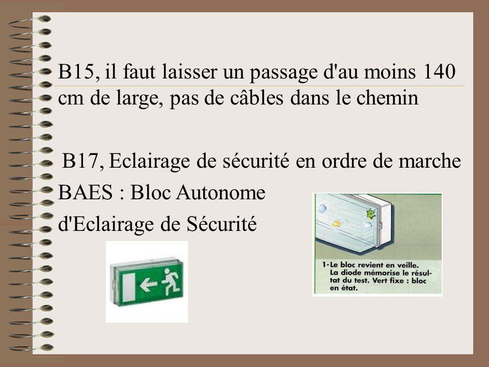 B17, Eclairage de sécurité en ordre de marche