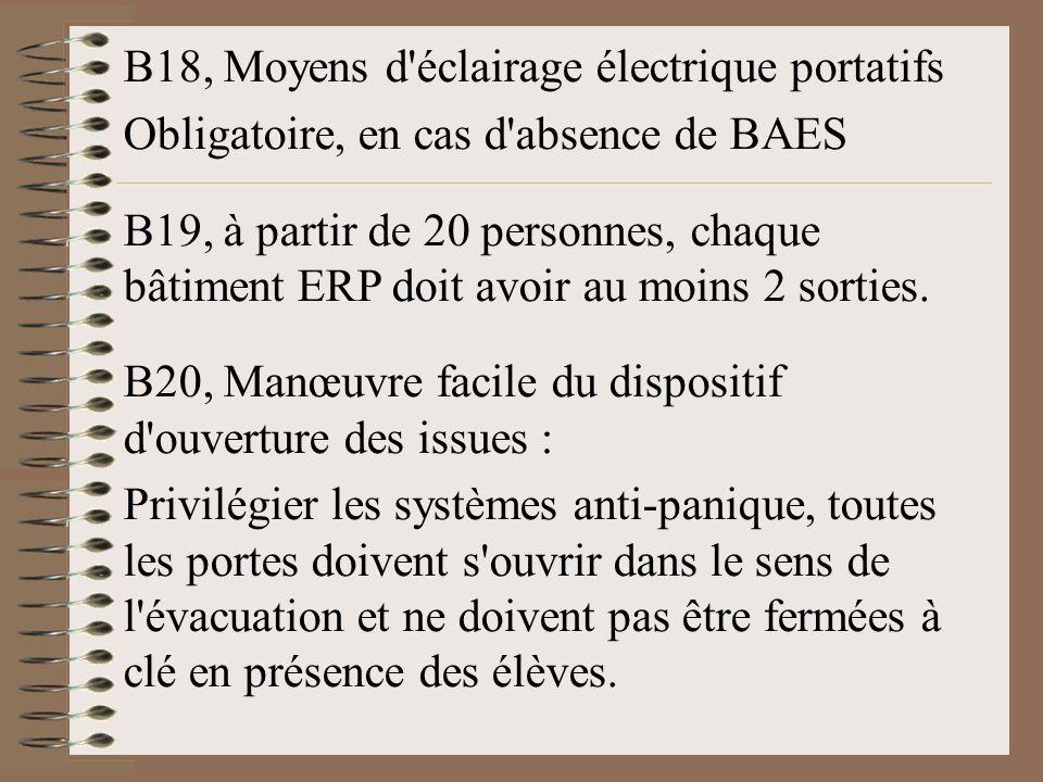 B18, Moyens d éclairage électrique portatifs