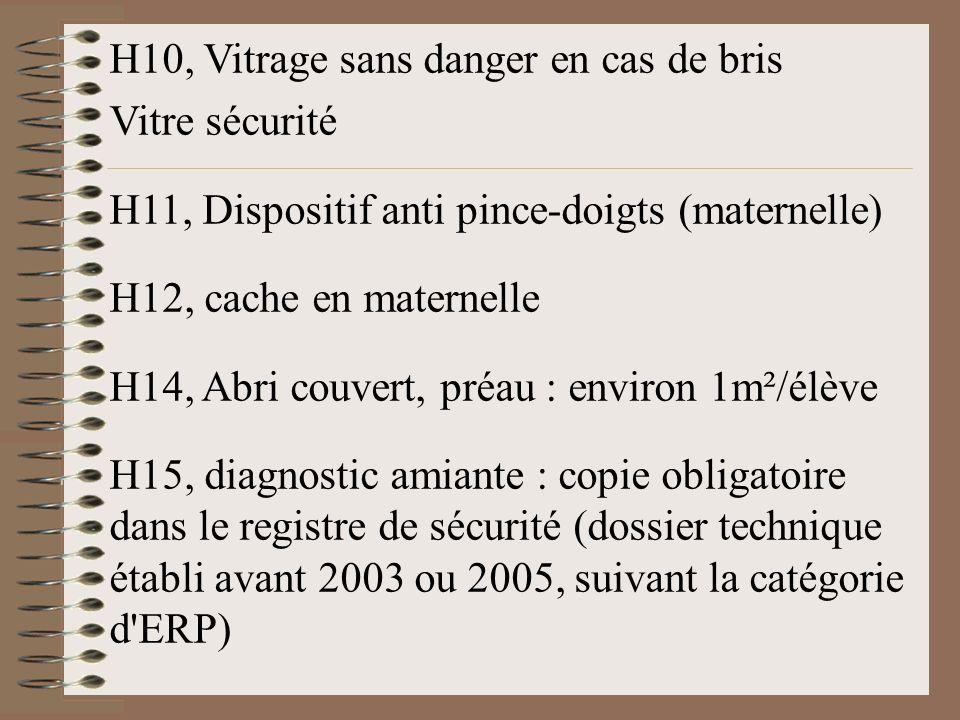H10, Vitrage sans danger en cas de bris