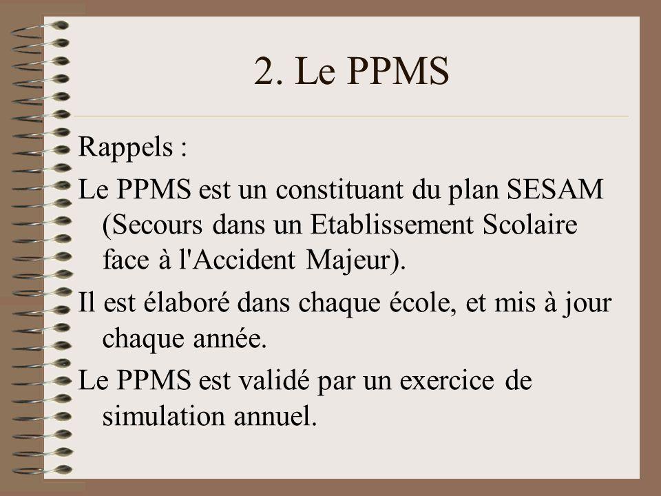 2. Le PPMS Rappels : Le PPMS est un constituant du plan SESAM (Secours dans un Etablissement Scolaire face à l Accident Majeur).